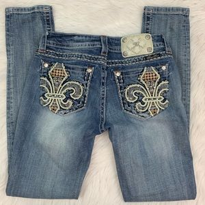 Miss Me Skinny Jeans with Fluer de Lis